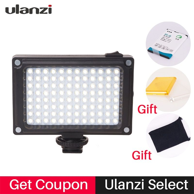 Ulanzi 96 on-Camera LED Video Light Night lamp with Battery/Filters/Hot shoe for Canon Nikon Sony Camcorder Zhiyun Smooth 4