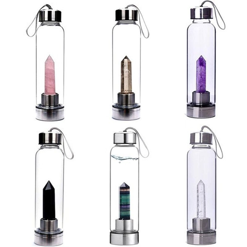 500ML Natural Crystal Water Bottle Point Healing Obelisk Wand Elixir Quartz Crystal Healing Bottle Drop Ship