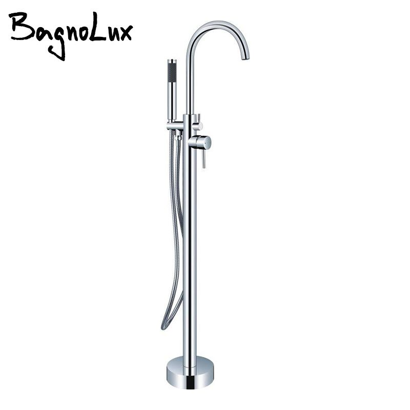 Chrome Silver Or Gold Pvd Double Handle Claw Foot Tub Shower Mixer Tap Valve Set 2-Handle Freestanding/Wall Mount Bathtub Faucet