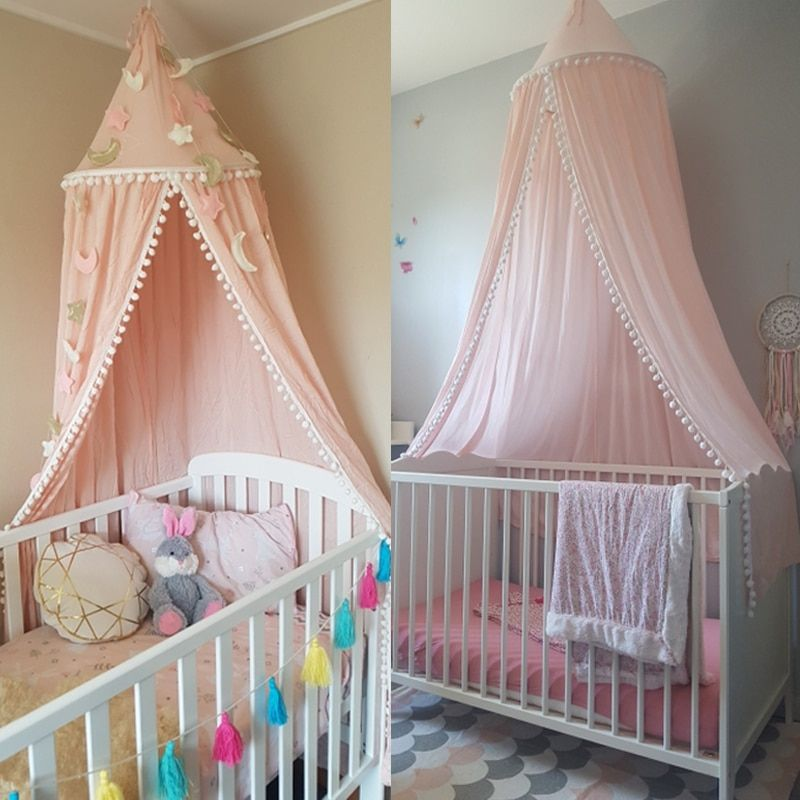 Nordic Style Kids Decoration Cotton Dome Mosquito Net Princess Baby Shed Valance Round Bed Hanging Canopy Awning Tent Pink S3