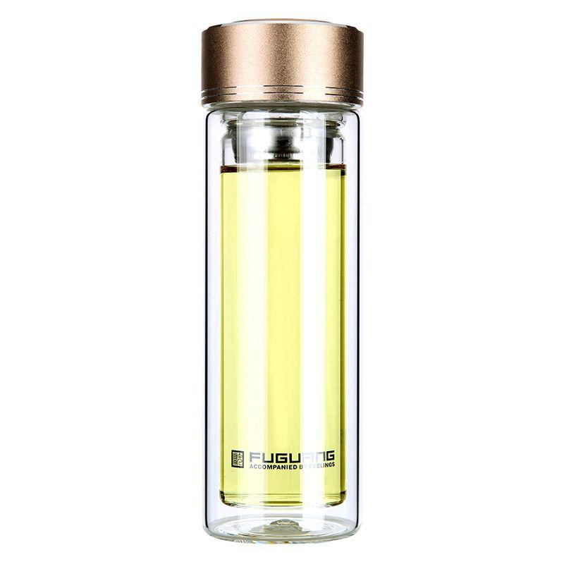 240 ml 350 ml 420 ml Portable Bref Double Couche D'eau Transparent En Verre avec Couvercle Filtre Puer Verres À Double Paroi Bouteille d'eau