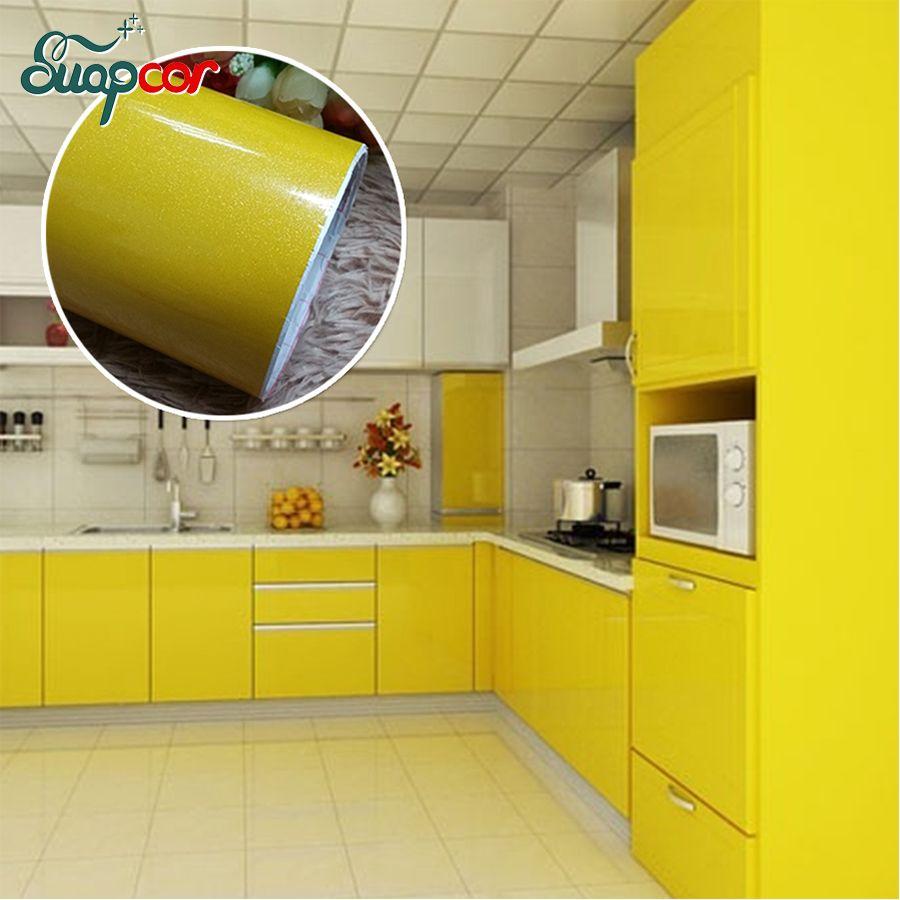 Nouvelle peinture auto-adhésif vinyle Stickers muraux cuisine placard étanche autocollants meubles garde-robe Film décoratif décor à la maison