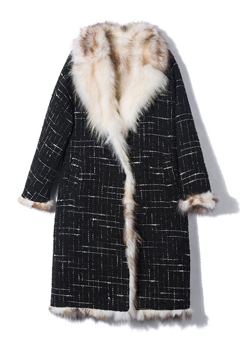 2018 New Arrival Luxury Women's Real Fur Cloak Woolen Coat with Natural Raccoon Fur Lining rf0189