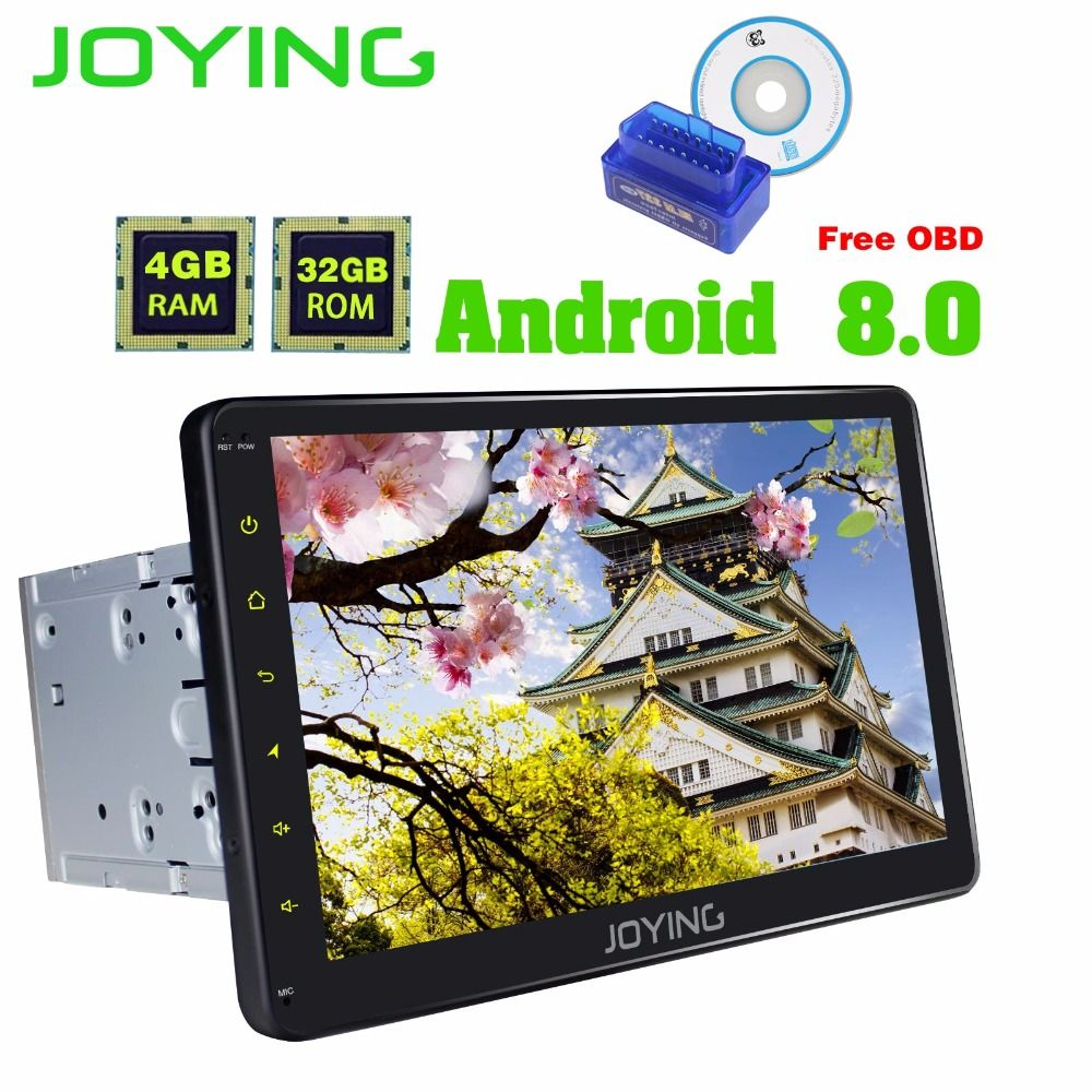 JOYING Android 8.0 2 din car radio 10 inch GPS Navi steering wheel control universal stereo auto FM Rds Bluetooth wifi free OBD
