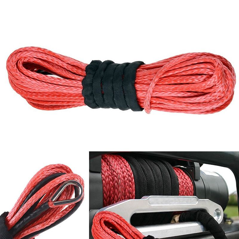 New Arrivals 1/4'' x 50' 15m*6mm 7000lbs Red Winch Rope Synthetic Cable Line With Hook for ATV UTV Off-Road