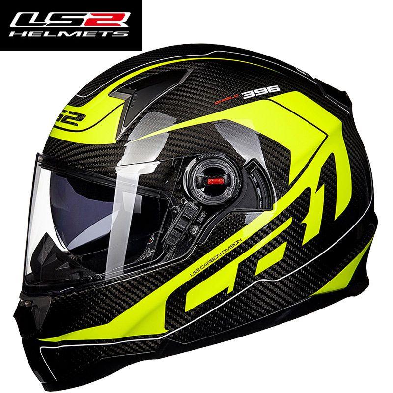 Genuine LS2 FF396 Carbon Fiber Motorcycle Helmet Full Face racing Motorbike Helmets with Air pump dual lens visor moto helmet