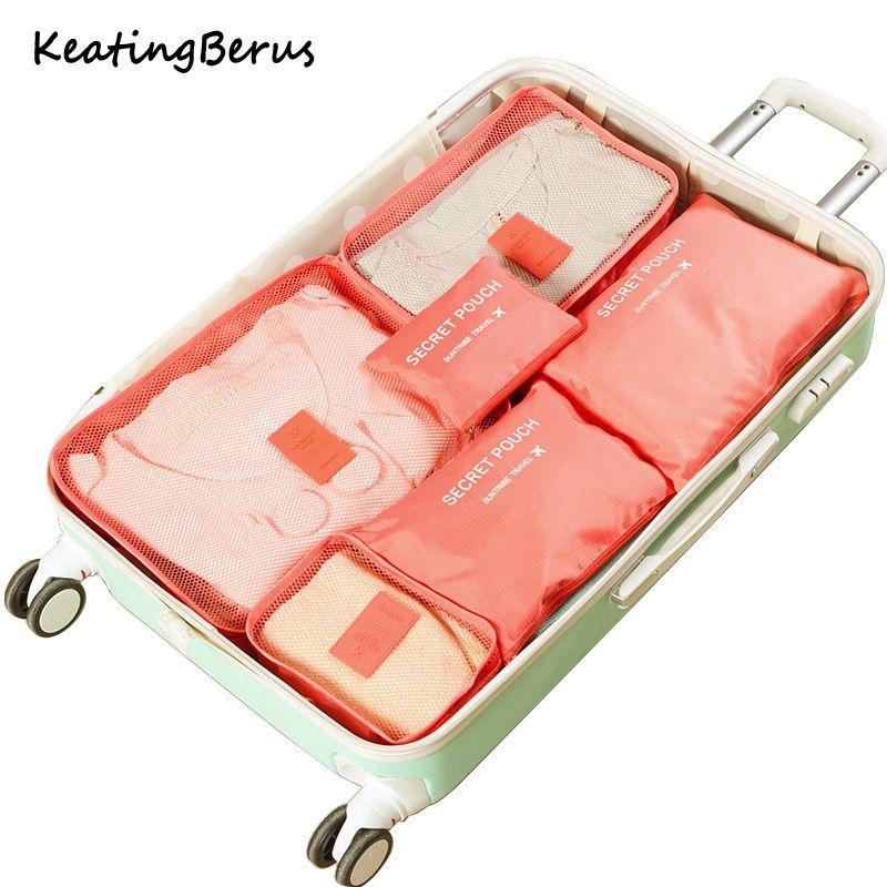 Haute qualité Oxford tissu 6 pièces/ensemble voyage maille sac en sac bagages organisateur emballage cosmétique sac Cube organisateur pour vêtements