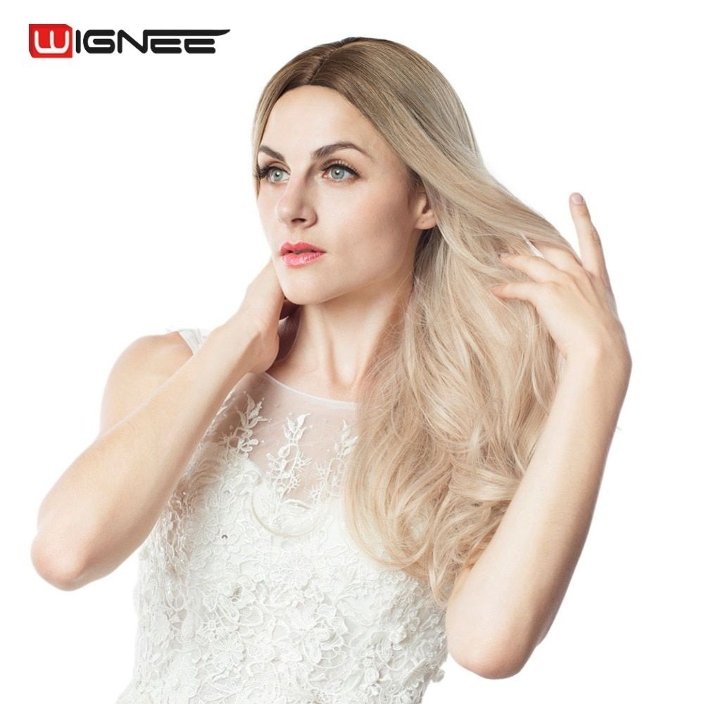 Wignee Long Ombre Brown Ash Blonde High Density <font><b>Temperature</b></font> Synthetic Wig For Black/White Women Glueless Wavy Cosplay Hair Wig