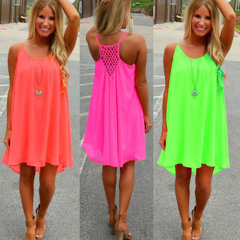 Femmes plage robe 2019 nouvelle mode fluorescence femme été robe en mousseline de soie voile femmes robe femmes vêtements grande taille