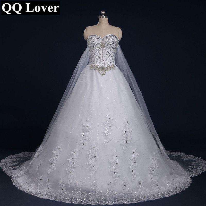 QQ Lover 2018 New Tube Top Crystal Luxury Wedding Dress Bridal gown wedding dresses 2018 vestido de noiva Robe De Mariage