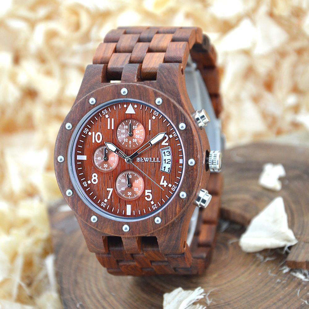 BEWELL Men Wooden Chronograph Watches Men's Top Brand Luxury Design Military Clock Man Quartz Wrist Watch Relogio Masculino 109D