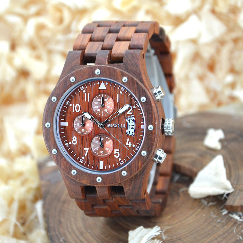 BEWELL Men Wooden <font><b>Chronograph</b></font> Watches Men's Top Brand Luxury Design Military Clock Man Quartz Wrist Watch Relogio Masculino 109D