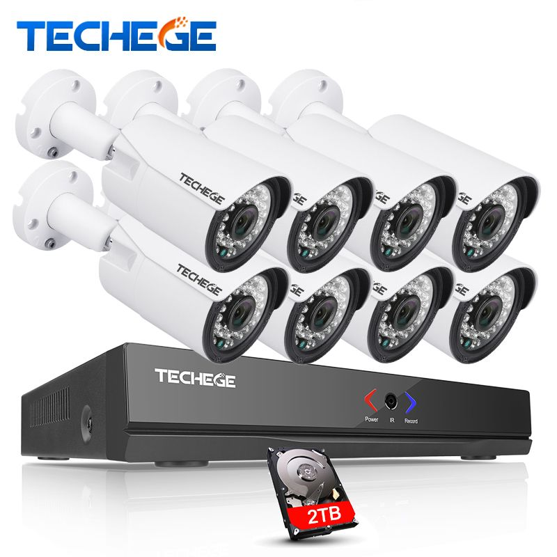 Techege 8CH 1080P 48V POE NVR 2.0MP 3000tvl NIght Vision POE IP Camera P2P Cloud camera system CCTV System Video Surveillance