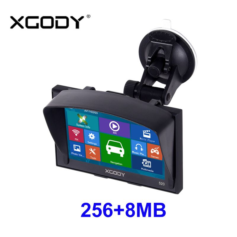 Xgody Gps Navigation 5 Inch For Car And Truck 256MB+8GB FM Sat Nav Navigator Navitel Russia Optional Lifetime Updated Map Free