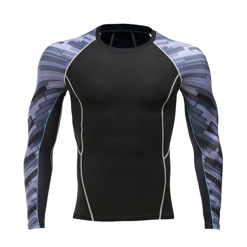 MMA Kompression Shirt Jungen Fitness männer Unter Mock Langarm T Shirts Top Basisschicht Hemd Oberkörper Kühlen, Trockenen T-shirt