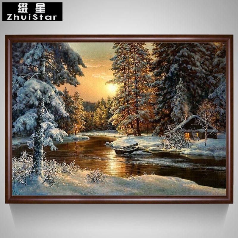 5D DIY Diamond Painting Beautiful Snow Scenic Embroidery Full Square Diamond Cross Stitch Rhinestone Mosaic Painting Home Decor