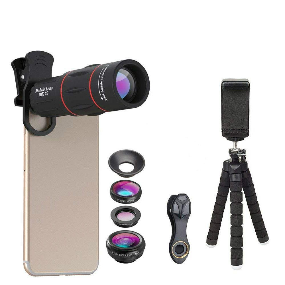 La Lentille de Téléphone universel Kit Fisheye Grand Angle macro 18X télescope téléobjectif avec 3 dans 1 lentille pour iphone Samsung huawei