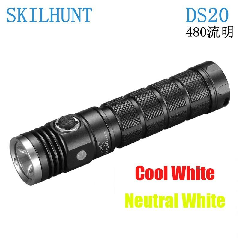 New arrived Skilhunt DS20 Led flashlight CREE XM-L2 480 Luems EDC camping Torch compatible with 18650 16340 CR123A