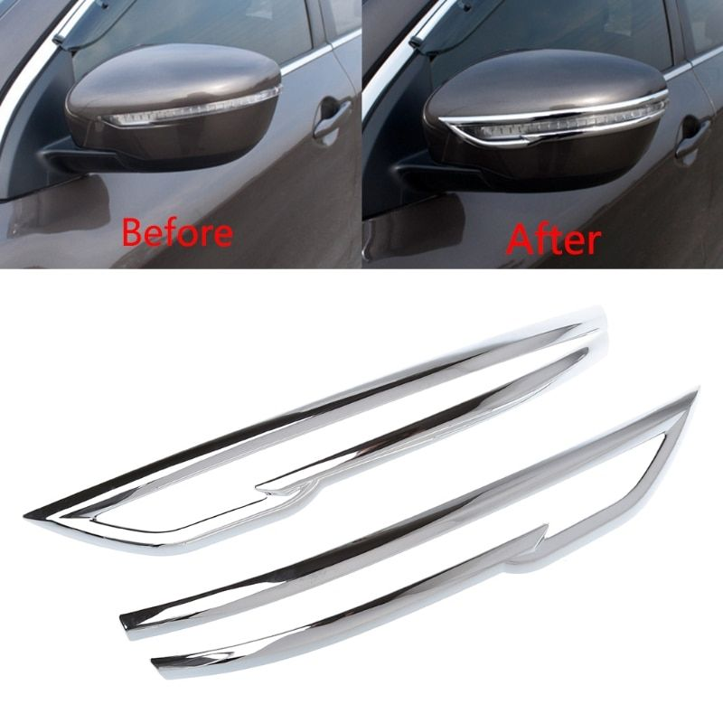 NoEnName_Null Car Rearview Mirrors Decoration Chrome Trim Accessorie For Nissan Qashqai J11 2nd Rogue 2014 2015 2016 2017