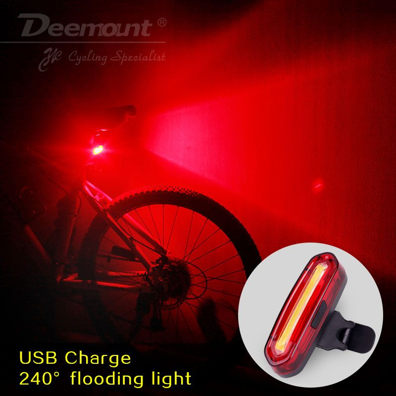 Deemount 100 LM Rechargeable COB LED USB Mountain Bike Tail Light Taillight MTB Safety Warning Bicycle Rear Light Bicycle Lamp