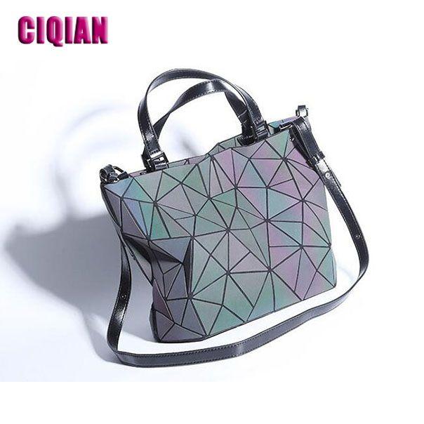 2018 luminous bag New Women's Geometric Handbag Laser Plain Folding bag Hologram Geometry Casual Totes for girls Free Shipping