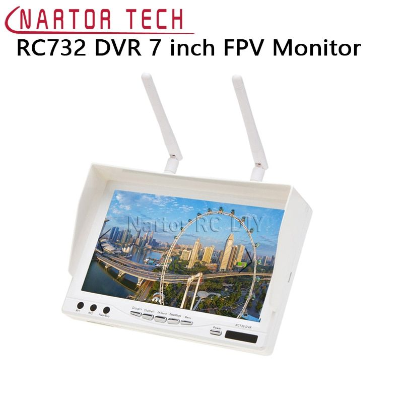 New RC732 DVR AIO 7 inch HD LCD FPV Monitor Built-in Battery and 32CH 5.8G Wireless Diversity RC Receiver