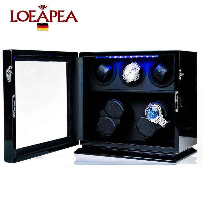 Wooden Watch Winder 7 Automatic watch chain winder TPD 9 mode with LED light and JAPAN mabuchi motor watch storage box