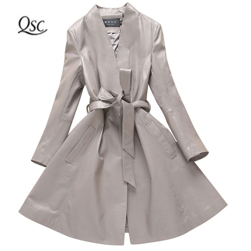 2018 New Spring Autumn Soft 100% Real SheepSkin Leather Jacket Women Ladies Sashes Long Jackets Slim Gray Coat Genuine Leather