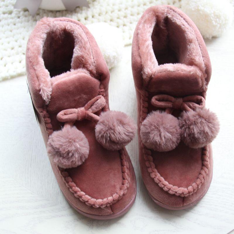 Femmes étage maison chaussures doux haute coupe Couple amant épais en peluche anti-dérapant intérieur bottes chaussures grande taille