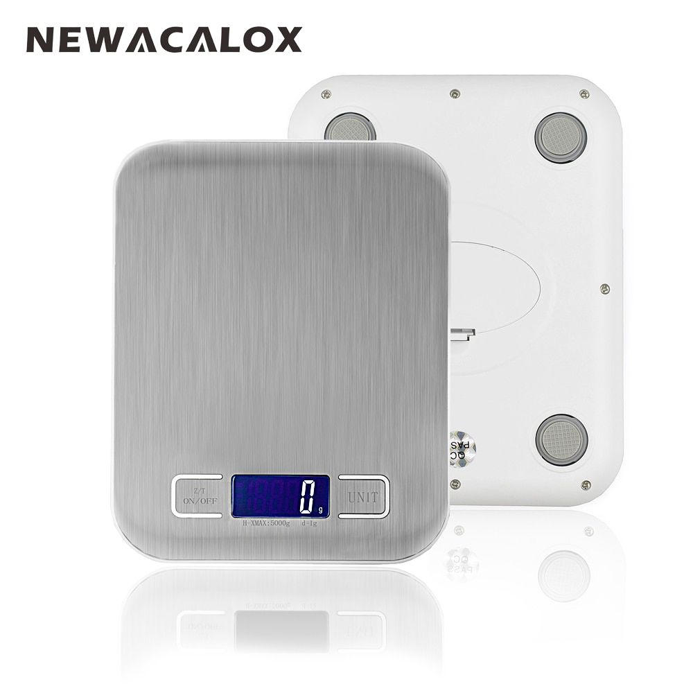 NEWACALOX Household Electronic Kitchen Scale 5kg Cooking Tools Food Die Postal <font><b>Balance</b></font> LCD Digital Weight Health Scales