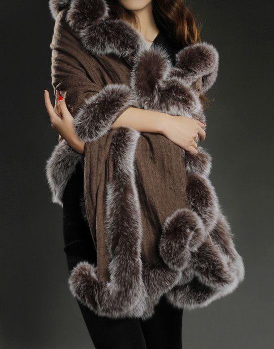 100% pure cashmere shawl with real fox fur trim women warm thick autumn winter fur cape black elegant brown luxury scarves S116