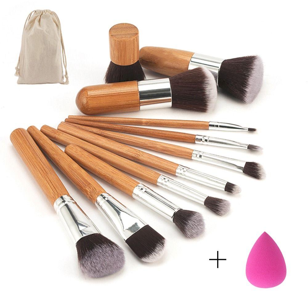 11 pcs/set Bamboo Handle Makeup Brushes Set Kit Eyeshadow Concealer Blush Foundation Brush With Blending Cosmetic Sponges Puff