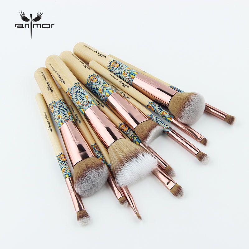 Anmor nouveaux pinceaux de maquillage 12 pièces ensemble brosse de maquillage en bambou doux synthétique Collection poudre Contour fard à paupières Kit de nettoyage des sourcils
