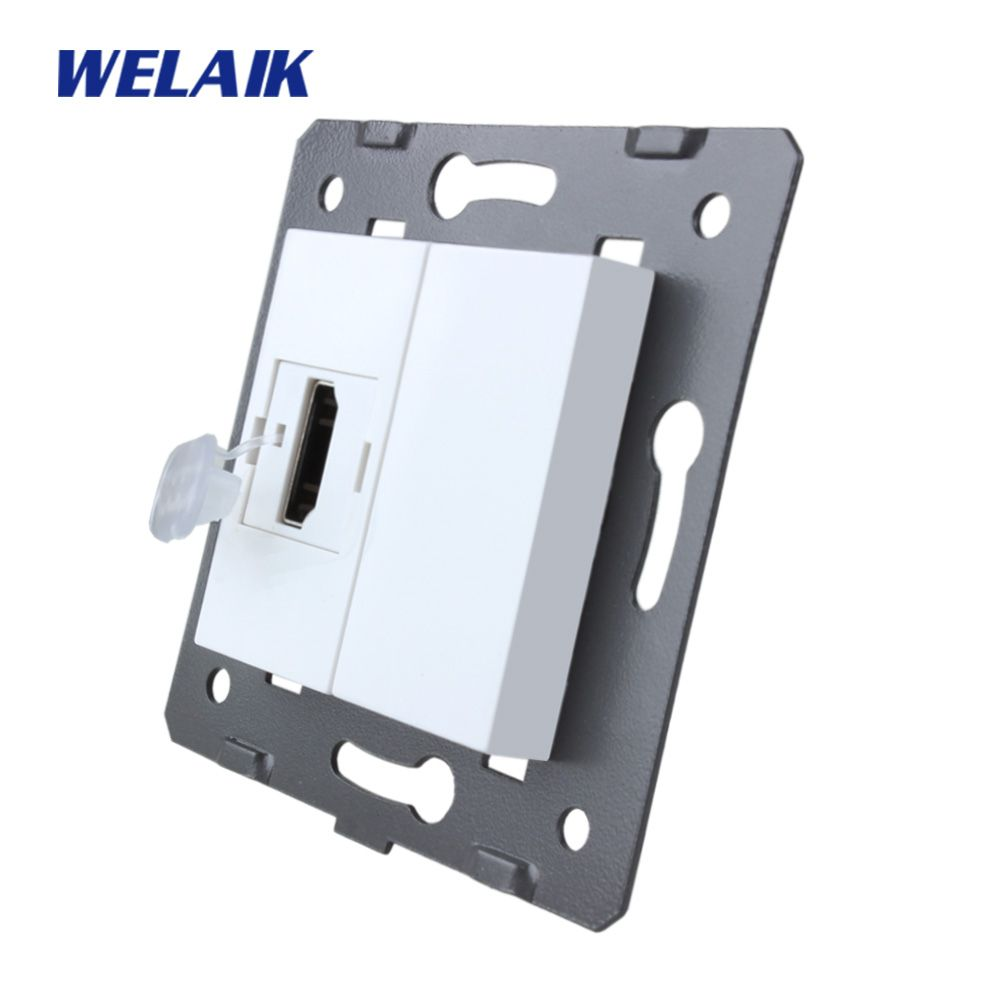 WELAIK EU Standard HDMI Socket DIY Parts White Wall HDMI Socket parts Without Glass Panel A8HDW