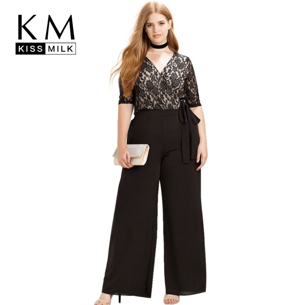Kissmilk Women Plus Size Clothing Casual Black Wrap Lace Patchwork Rompers Sweet Waist Tie Holiday Wide Leg Jumpsuits