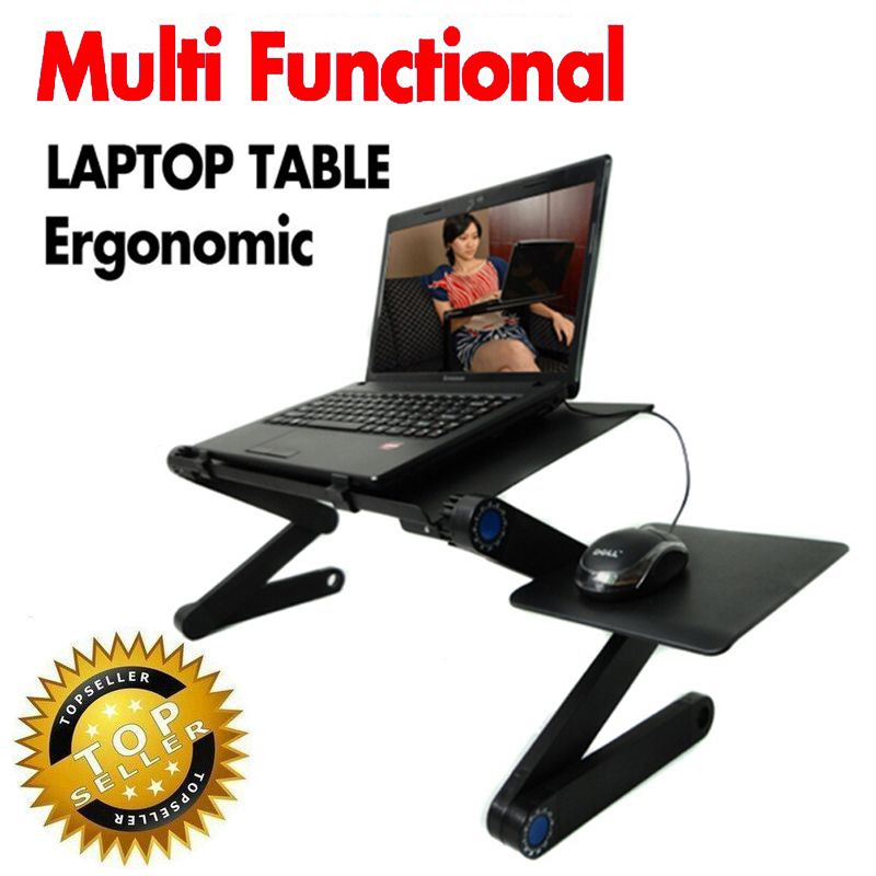 Multi Functional Ergonomic mobile laptop table stand for bed Portable sofa laptop table foldable notebook Desk with mouse <font><b>pad</b></font>