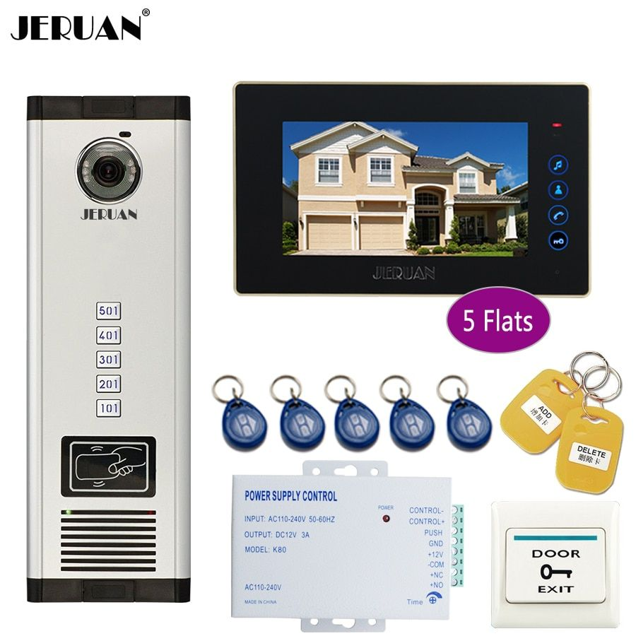 JERUAN 7 inch LCD Monitor 700TVL Camera Video Door Phone Intercom Access Home Gate Entry Security Kit for 5 Families Apartments