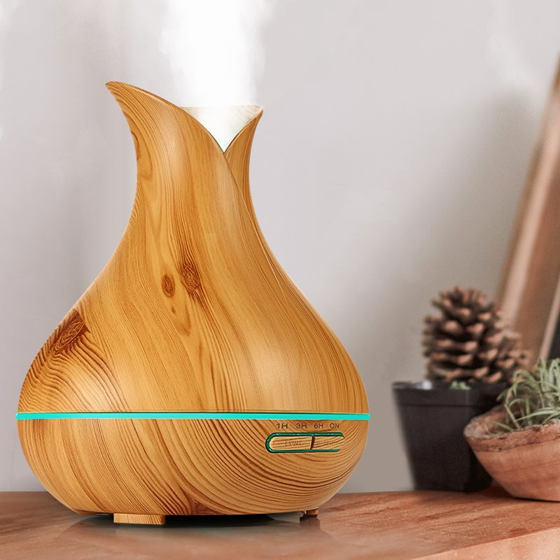 KBAYBO Ultrasonic Air Humidifier Wood Grain electric Aroma Essential Oil Diffuser for home tea tree lavender orange plant oils