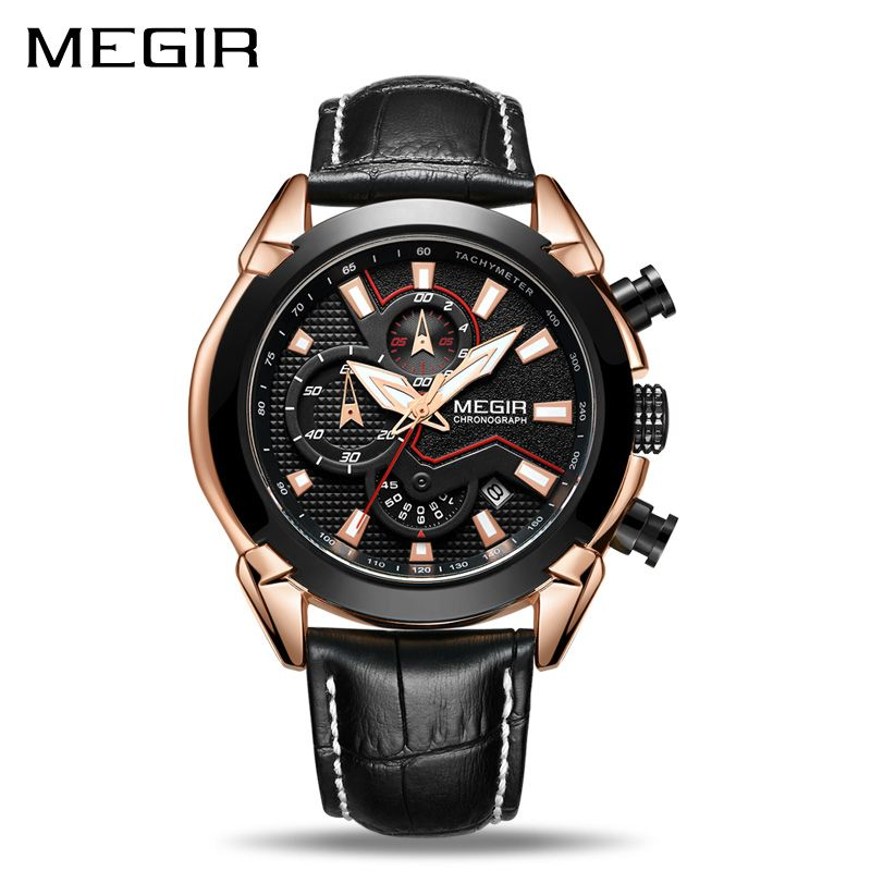 <font><b>MEGIR</b></font> Creative Quartz Men Watch Leather Chronograph Army Military Sport Watches Clock Men Relogio Masculino Reloj Hombre 2065