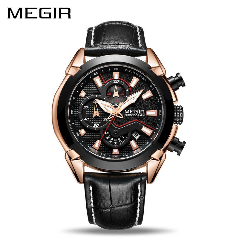 MEGIR Creative Quartz Men Watch Leather Chronograph Army Military Sport Watches Men Clock Hour Relogio Masculino Reloj Hombre