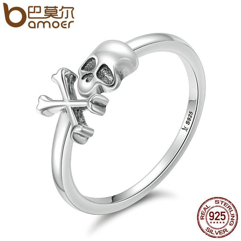 BAMOER 100% 925 Sterling Silver Hyperbole Skeleton Skull Pirate Ring Vintage Sterling Silver Jewelry Halloween Gift SCR145