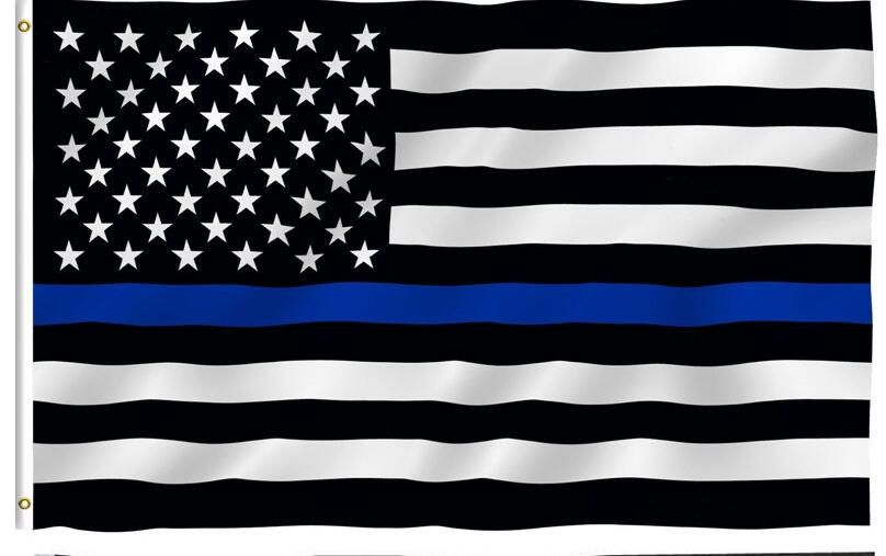 Blue  Line usa Police Flags, 90*150cm Thin Blue Line USA Flag Black White And Blue line Flag With Grommets Epacket Drop Shipping