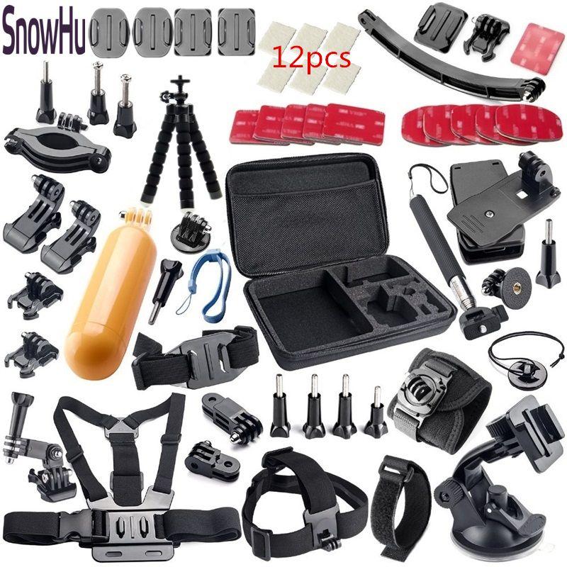 SnowHu for Gopro hero 7 accessories set for go pro kit mount SJ4000 SJ500 Hero 7 6 5 4 SJCAM xiaomiyi camera Black Edition GS33