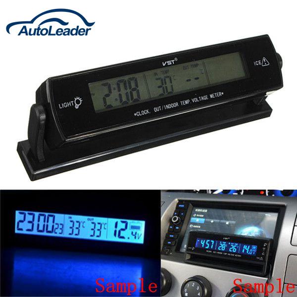 12V Auto Voltage Digital Monitor Battery Alarm Clock LCD Temperature Thermometer