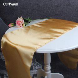 OurWarm 30x275 cm Satin Chemins de Table Moderne Chemin de Table pour la Décoration De Noce De Noël Nouvel An Décor pour la maison