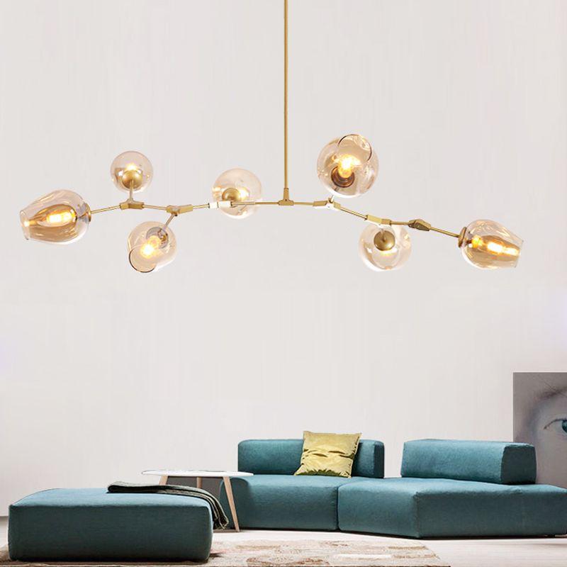 Créateur Globe Lustres lumières pour salon Noir/Or Corps Lustres lampe avec options couleur verre Cuisine Éclairages