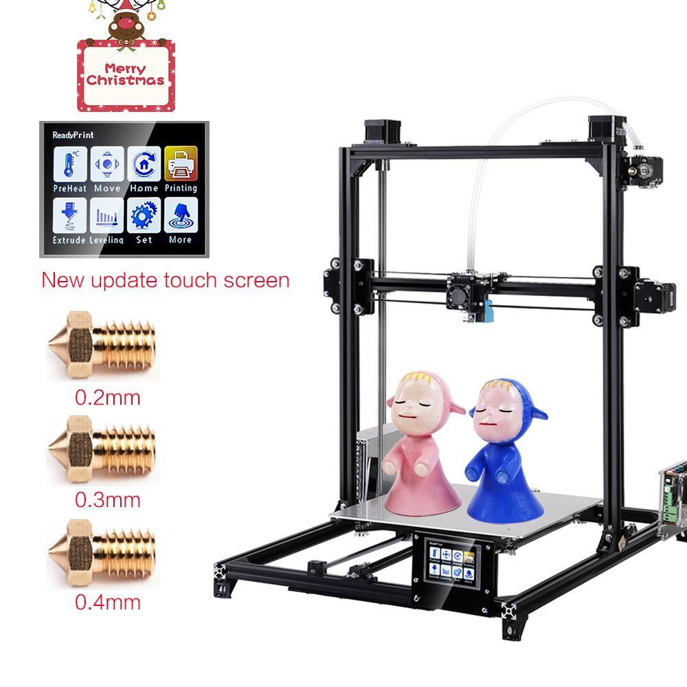 Flsun 3D Imprimante I3 Kit Complet En Métal Plus La Taille 300x300x420mm Double Extrudeuse Tactile Auto- nivellement Imprimante 3D Chauffée Lit Filament