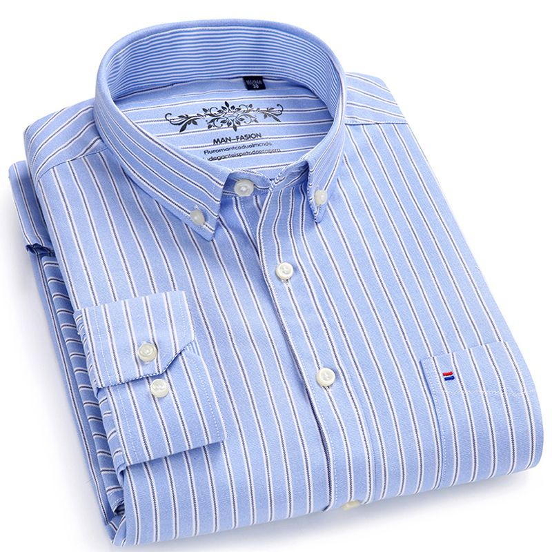 Men's Long Sleeve Contrast Plaid/<font><b>Striped</b></font> Oxford Dress Shirt with Left Chest Pocket Male Casual Regular-fit Buttoned Down Shirts