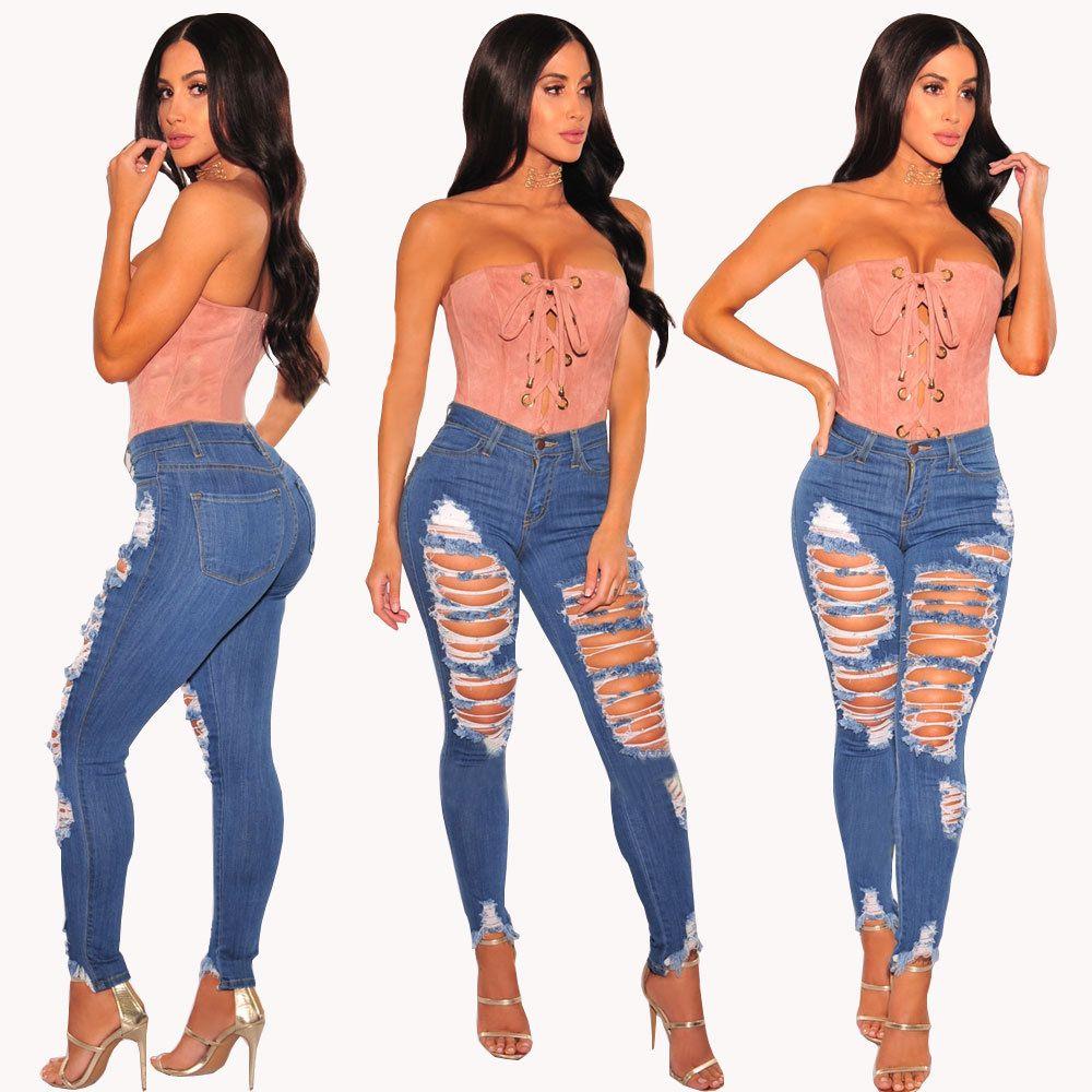 2019 sommer Frühling Mode Jeans für Frau Elastische Hohe Taille Ripped Loch Dünne Knöchel Länge Bleistift Hosen Plus Größe