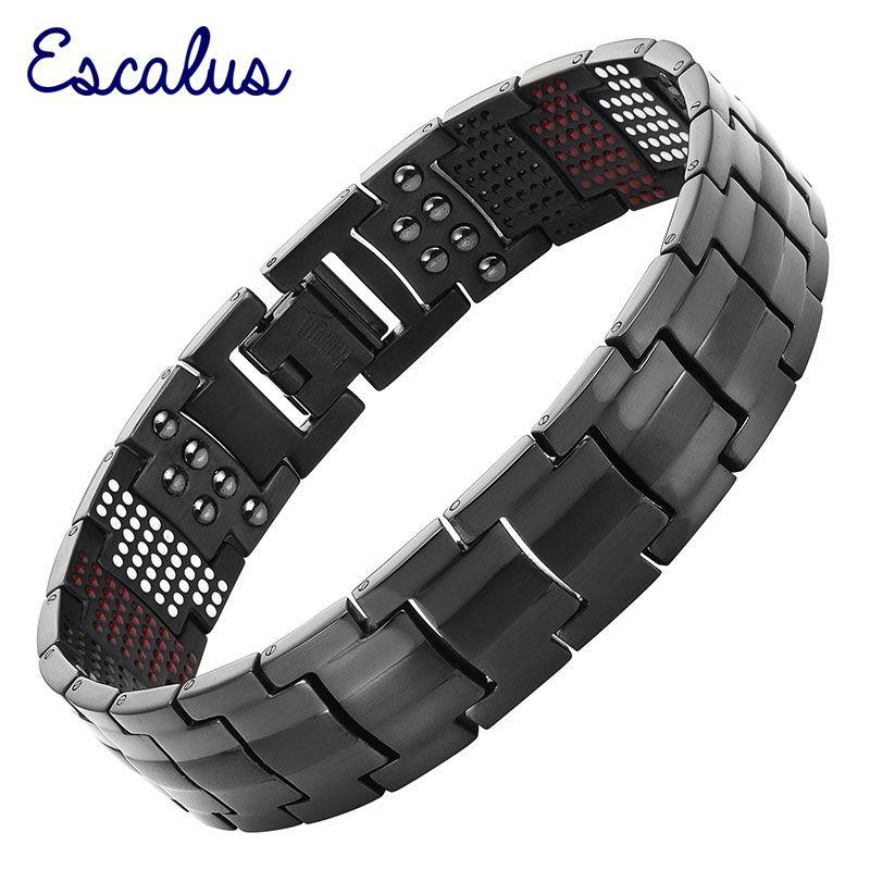 Bracelet magnétique en titane pur noir pour hommes Escalus pour hommes aimants 4in1 Ions négatifs Bracelets de santé Germanium bijoux